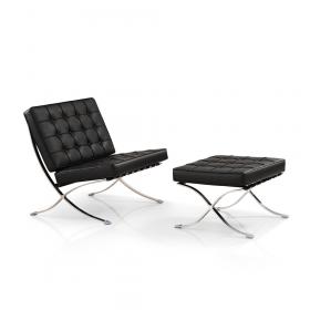 Barcelona Chair + Ottoman hocker (set) - Zwart