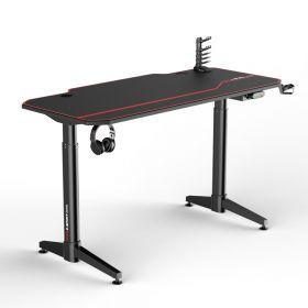 Bureau de gaming noir/rouge - Réglable électriquement - 140x66 cm