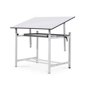Professioneller Zeichentisch - 90 x 130 cm - Ergonomisch in Höhe/Winkel einstellbar - Große Ablage