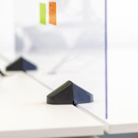 Écran de séparation / écran de bureau en plexiglas - Inclus pinces pour bureau double - 58 x 160 cm
