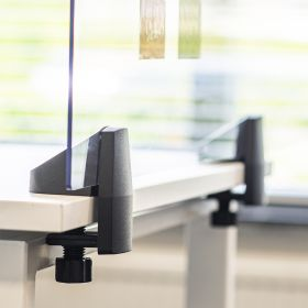 Écran de séparation / écran de bureau en plexiglas - Inclus pinces pour bureau individuel - 58 x 75 cm