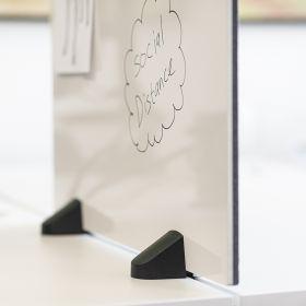 Écran de séparation combiné tableau blanc / tableau d'affichage - Inclus pinces pour bureau double - 58 x 75 cm